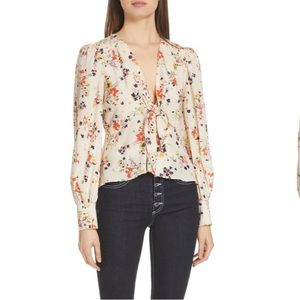 Veronica Beard Peyton floral silk blouse